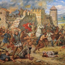Jigsaw puzzle: Defense of Kievets on the Danube. 487 year
