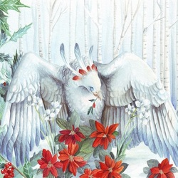 Jigsaw puzzle: Bird and poinsettia