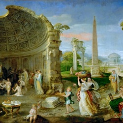 Jigsaw puzzle: Landscape with antique ruins and bathers