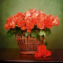 Jigsaw puzzle: Roses in a basket