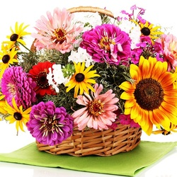 Jigsaw puzzle: Basket with zinnias and sunflower
