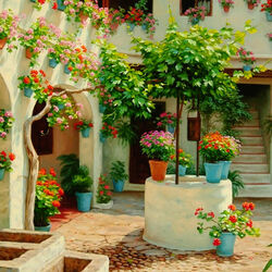 Jigsaw puzzle: Patio in flowers