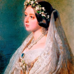 Jigsaw puzzle: Queen Victoria in a veiled wedding dress