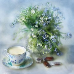 Jigsaw puzzle: Morning with forget-me-nots
