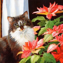 Jigsaw puzzle: Cat and flower