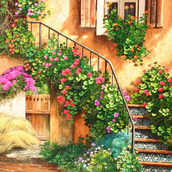 Jigsaw puzzle: Cozy courtyards. Ladder
