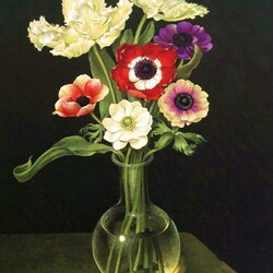 Jigsaw puzzle: Anemones and tulips