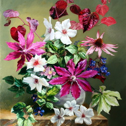 Jigsaw puzzle: Bouquet with clematis