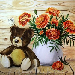 Jigsaw puzzle: Teddy Misha with marigolds