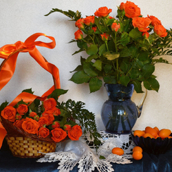 Jigsaw puzzle: Roses and kumquats