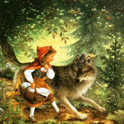 Jigsaw puzzle: Wolf and Little Red Riding Hood