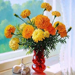 Jigsaw puzzle: A bouquet of marigolds