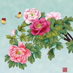 Jigsaw puzzle: Peonies and butterflies