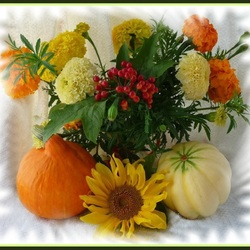 Jigsaw puzzle: Marigolds and pumpkins