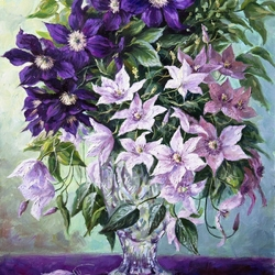 Jigsaw puzzle: Bunch of clematis