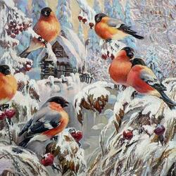 Jigsaw puzzle: Bullfinches glorify winter