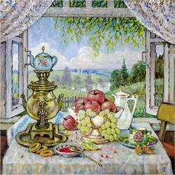 Jigsaw puzzle: Tea drinking at the window