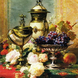 Jigsaw puzzle: Still life with roses and fruits
