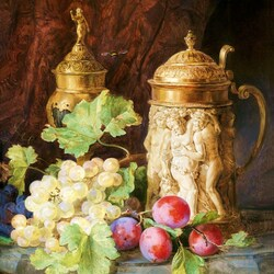 Jigsaw puzzle: Still life with fruit and a mug