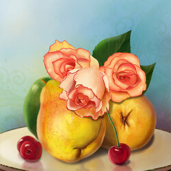 Jigsaw puzzle: Pears and roses