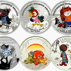 Jigsaw puzzle: Cartoon characters. Fancy coins