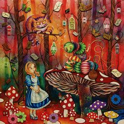 Jigsaw puzzle: Alice meets a caterpillar