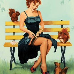 Jigsaw puzzle: Girl and squirrels