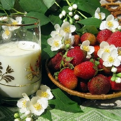 Jigsaw puzzle: Milk and strawberries