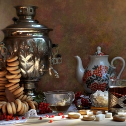 Jigsaw puzzle: Tea with bagels