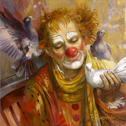 Jigsaw puzzle: Ginger clown and pigeons